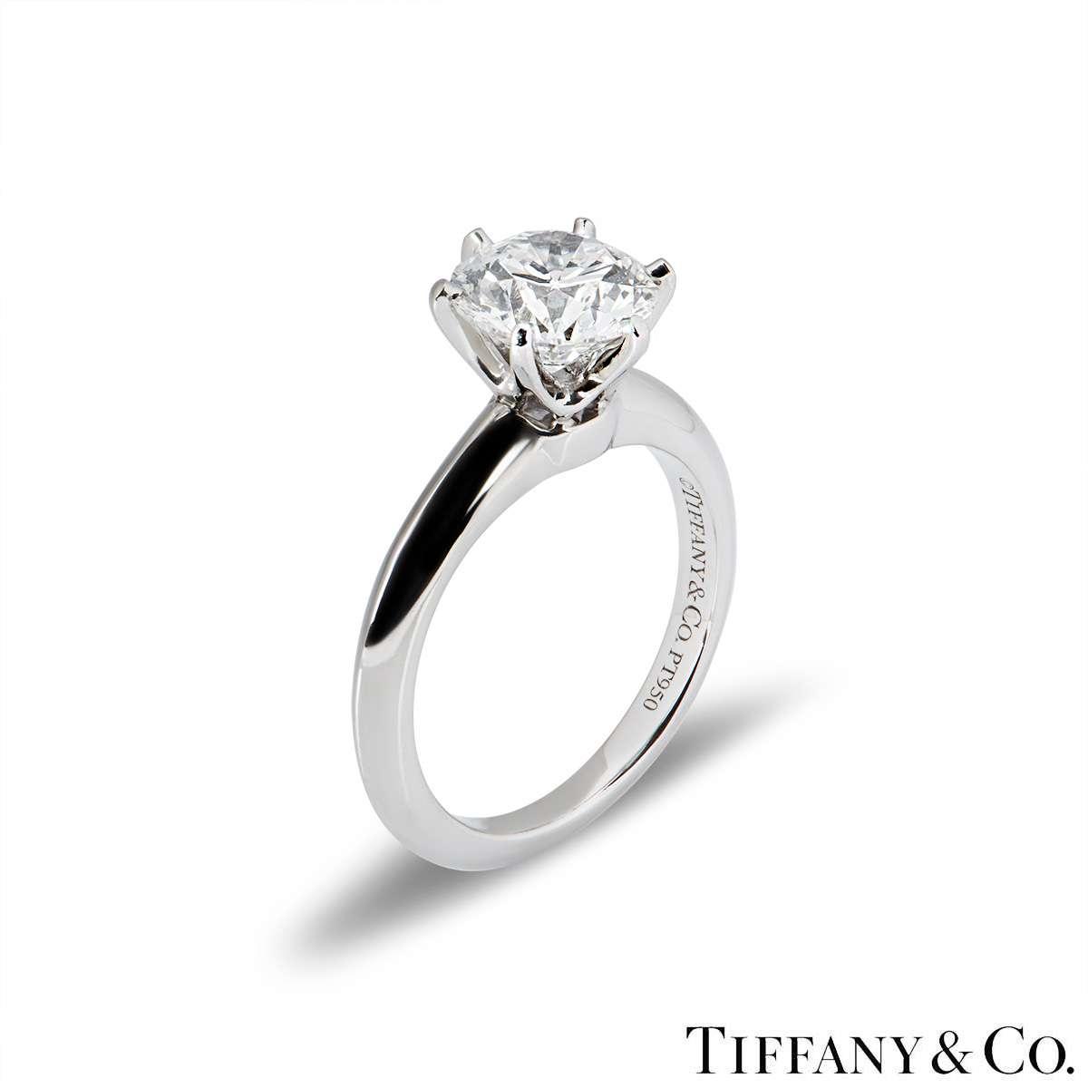 Tiffany & Co. Platinum Diamond Setting Ring 1.72ct G/VVS2 XXX